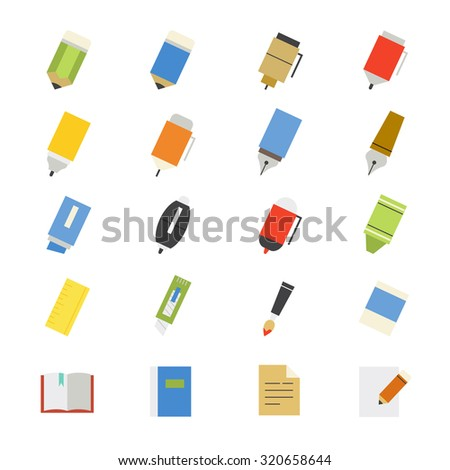 Drawing and Writing Painting Tools Flat Icons color - stock vector