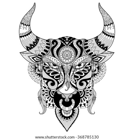 drawing angry bull coloring book adulttattoo t stock vector royalty free 368785130 shutterstock. Black Bedroom Furniture Sets. Home Design Ideas