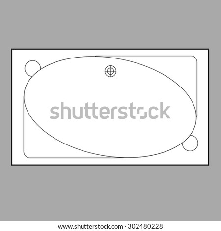Drawing bath plumbing plan view from above - stock vector