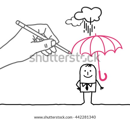 Drawing big hand and  character - rain protection - stock vector