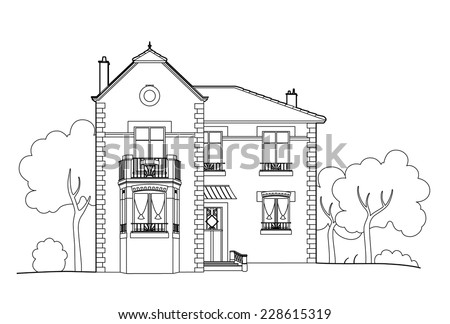 Drawing Big House Stock Vector 228615319 Shutterstock