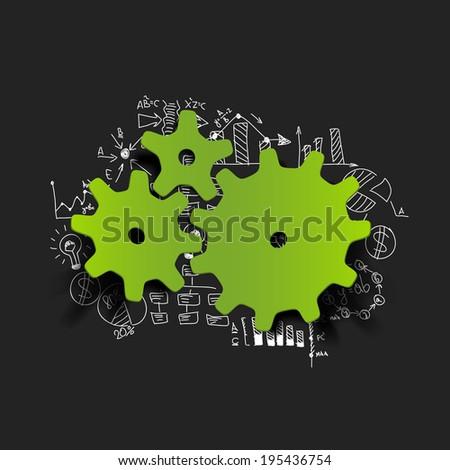 Drawing business formulas: cogwheel - stock vector