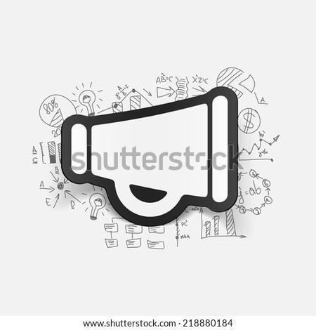 Drawing business formulas: megaphone - stock vector