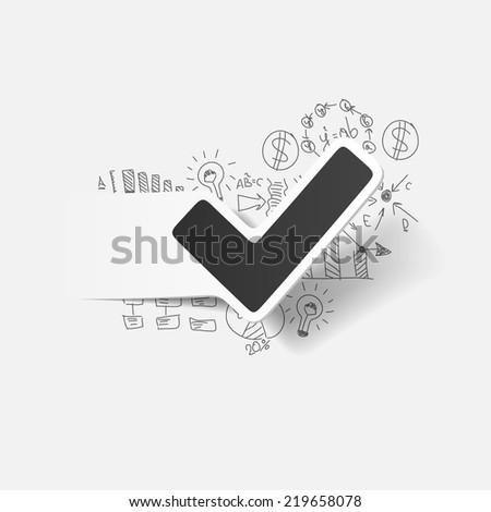 Drawing business formulas: tick - stock vector