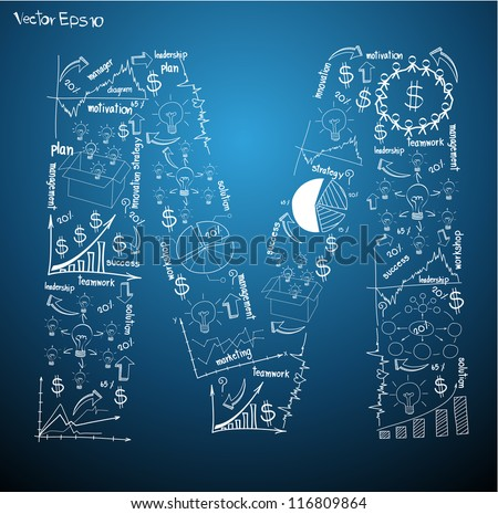 Drawing business plan concept diagrams of alphabet letters ( M ) Vector template design - stock vector