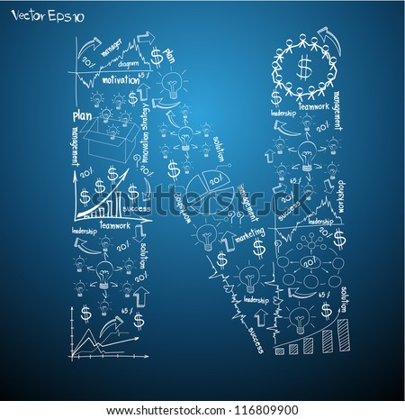 Drawing business plan concept diagrams of alphabet letters ( N ) Vector template design - stock vector