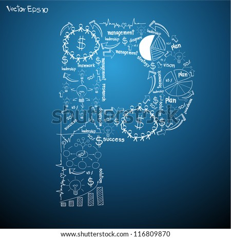 Drawing business plan concept diagrams of alphabet letters ( P ) Vector template design - stock vector