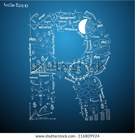 Drawing business plan concept diagrams of alphabet letters ( R ) Vector template design - stock vector