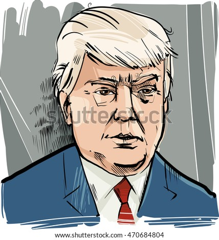 Drawing Caricature Portrait of Donald Trump USA Presidential Candidate 2016
