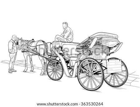 Drawing carriage with a horse and two men - stock vector