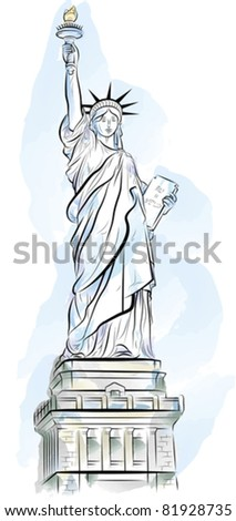 Drawing color Statue of Liberty in New York, USA. Vector illustration