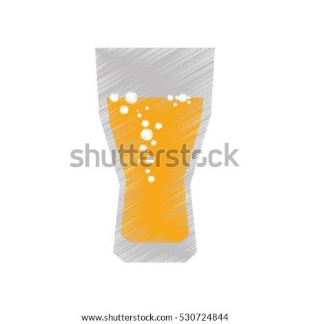 drawing colored glass cup beer bubbles vector illustration eps 10