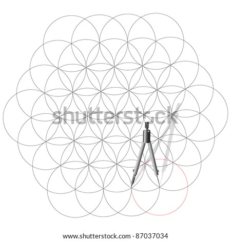 Drawing compass draw a abstract background of circles. Vector illustration.