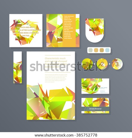 Drawing corporate identity template design with figures and schemes. Business stationery