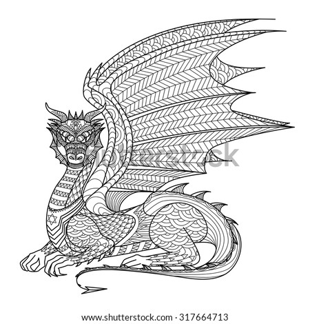 drawing dragon for coloring book - Dragon Coloring Book