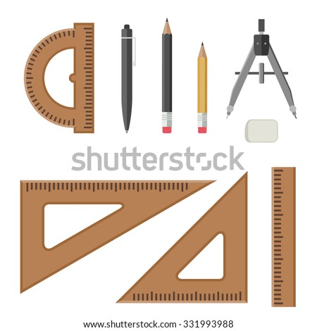 Drawing equipment in flat style. Architectural workplace. - stock vector