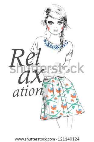 Drawing fashion girl for apparel. illustration vector. - stock vector