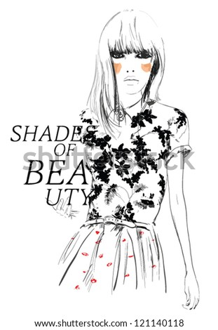 Drawing fashion sketch  girl for apparel. illustration vector. - stock vector