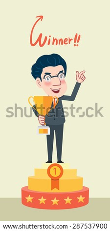 Drawing flat character design businessman victory concept - stock vector