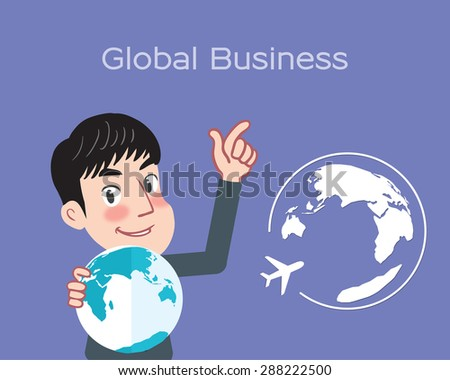 Drawing flat character design flying business concept - stock vector