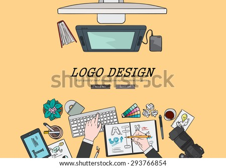 Drawing flat design illustration professional logo design concept. Concepts for web banners and promotional materials.  - stock vector