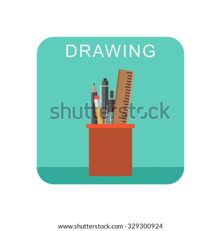 Drawing flat icon with cup pencils and pens. - stock vector