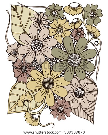 Drawing Flowers Retro Design - stock vector