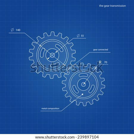drawing gear on blue paper - stock vector