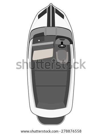 Drawing gray motorboat on a white background - stock vector