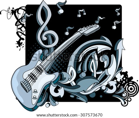 Drawing guitar with notes and graffiti arrows - stock vector