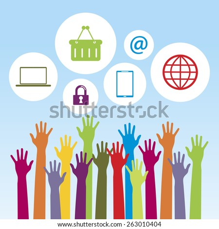 Drawing hands with arms raised to catch balloons with technology icons - stock vector