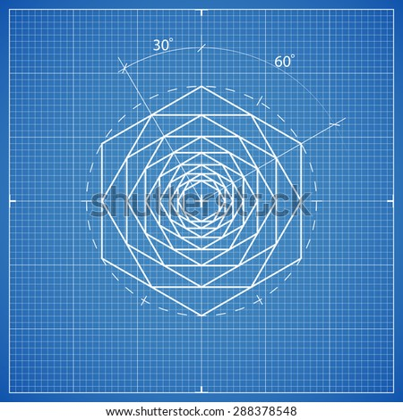 drawing hexahedron composition - stock vector