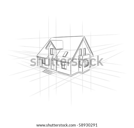 Drawing home on a white background. - stock vector