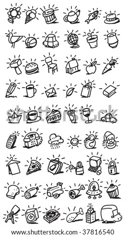 drawing icons - stock vector