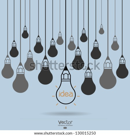 drawing idea light bulb concept creative design - stock vector