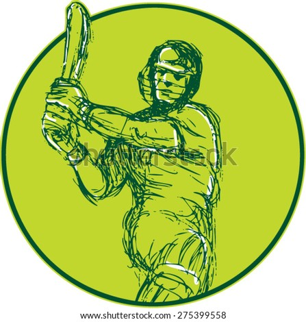 Drawing illustration of a cricket player batsman with bat batting viewed from front set inside circle on isolated background.  - stock vector