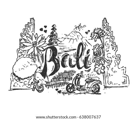 drawing illustration of bali island with different cultural elements and places hand drawn style picture
