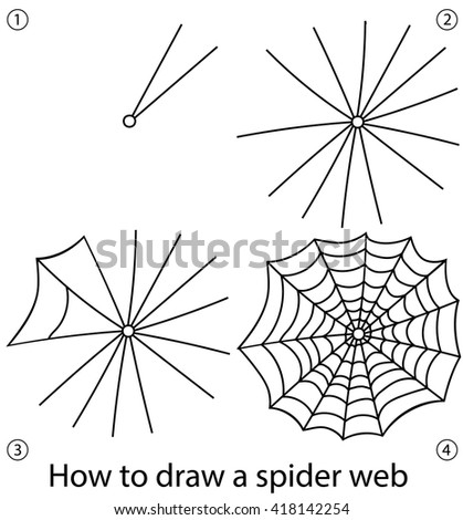 Spider Web Illustrated On White Stock Vector 199737902