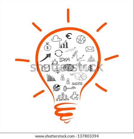 drawing light bulb business chart - stock vector