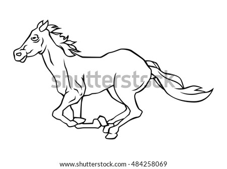 Drawing Lines Of Running Horse Black And White Illustration Design