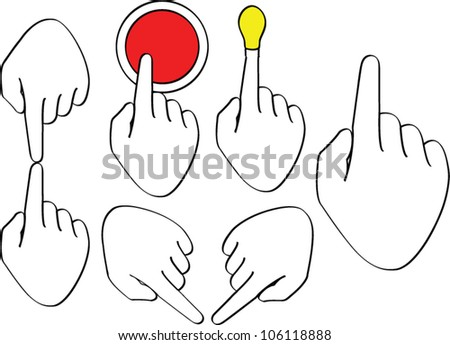 Drawing man's hand with up finger set - stock vector