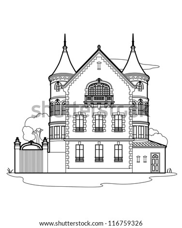 Drawing Mansion Stock Vector 116759326