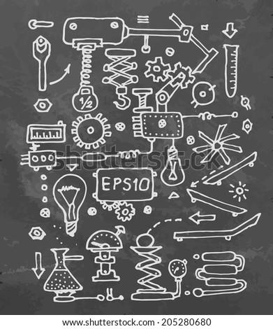 Drawing mechanism on school desk. Vector illustration. - stock vector