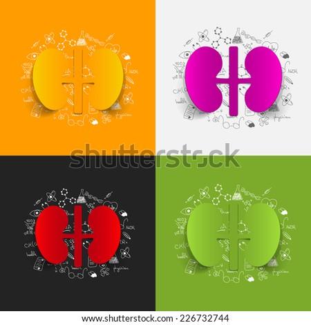 Drawing medical formulas: kidneys - stock vector