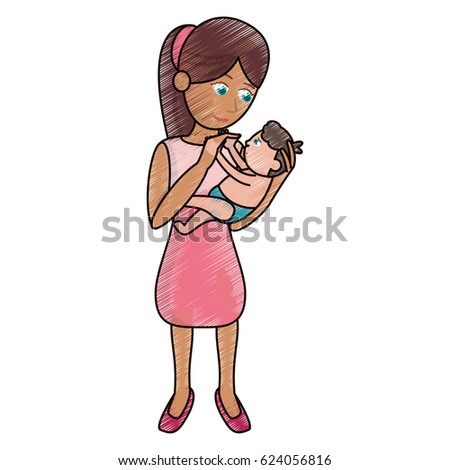 drawing mom holding baby loving