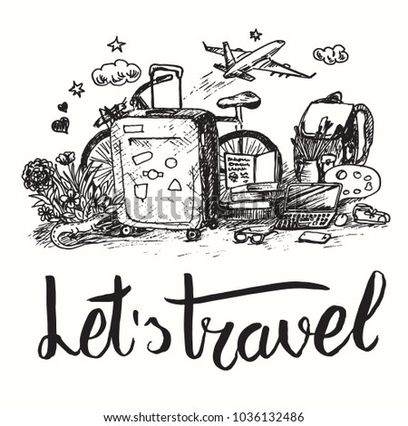 Drawing Motivating Illustration With Bag Airplane Backpack Laptop Bicycle Travel Collection