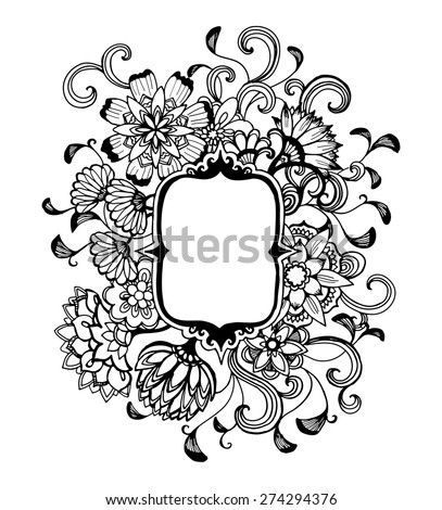 Drawing Of A Black Flower Border On White Background With Abstract Wildflowers And Curled Floral