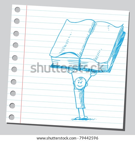 Drawing of a boy holding open book - stock vector
