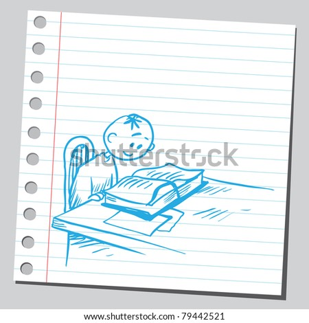Drawing of a boy reading book - stock vector