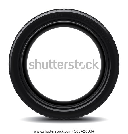 Drawing of a car tire on a white background